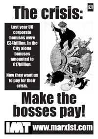 "Omslaget till IMT:s manifest: ""The Crisis: Make the bosses pay!"""